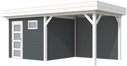 Blokhut Bonte Kraai met luifel 300, afm. 596 x 253 cm, plat dak, houtdikte 28 mm. - basis en deur wit, wand antraciet gespoten
