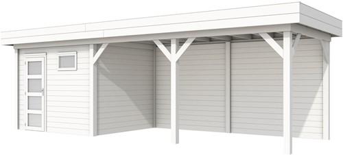Blokhut Bonte Kraai met luifel 500, afm. 787 x 253 cm, plat dak, houtdikte 28 mm. - volledig wit gespoten
