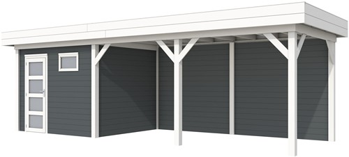 Blokhut Bonte Kraai met luifel 500, afm. 787 x 253 cm, plat dak, houtdikte 28 mm. - basis en deur wit, wand antraciet gespoten