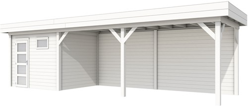 Blokhut Bonte Kraai met luifel 600, afm. 887 x 253 cm, plat dak, houtdikte 28 mm. - volledig wit gespoten