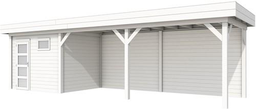 Blokhut Bonte Kraai met luifel 600, afm. 900 x 250 cm, plat dak, houtdikte 28 mm. - volledig wit gespoten