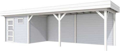 Blokhut Bonte Kraai met luifel 600, afm. 887 x 253 cm, plat dak, houtdikte 28 mm. - basis en deur wit, wand grijs gespoten