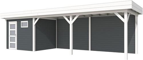 Blokhut Bonte Kraai met luifel 600, afm. 887 x 253 cm, plat dak, houtdikte 28 mm. - basis en deur wit, wand antraciet gespoten