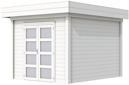 Blokhut Bosuil, afm. 303 x 303 cm, plat dak, houtdikte 28 mm. - volledig wit gespoten