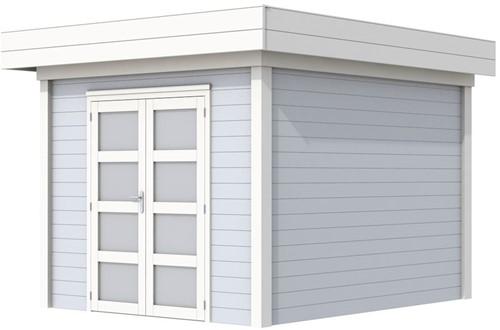 Blokhut Bosuil, afm. 300 x 300 cm, plat dak, houtdikte 28 mm. - basis en deur wit, wand grijs gespoten