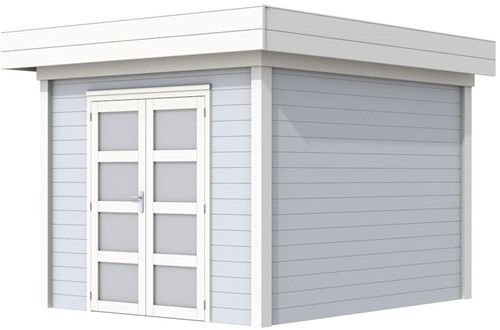 Blokhut Bosuil, afm. 303 x 303 cm, plat dak, houtdikte 28 mm. - basis en deur wit, wand grijs gespoten