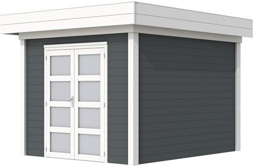 Blokhut Bosuil, afm. 303 x 303 cm, plat dak, houtdikte 28 mm. - basis en deur wit, wand antraciet gespoten