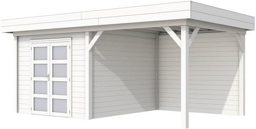 Blokhut Bosuil met luifel 400, afm. 689 x 303 cm, plat dak, houtdikte 28 mm. - volledig wit gespoten