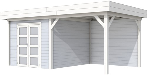 Blokhut Bosuil met luifel 400, afm. 689 x 303 cm, plat dak, houtdikte 28 mm. - basis en deur wit, wand grijs gespoten