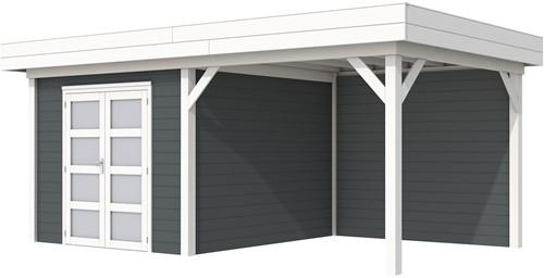 Blokhut Bosuil met luifel 400, afm. 689 x 303 cm, plat dak, houtdikte 28 mm. - basis en deur wit, wand antraciet gespoten