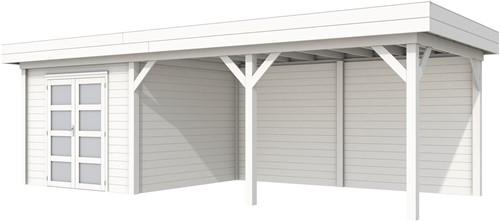 Blokhut Bosuil met luifel 500, afm. 787 x 303 cm, plat dak, houtdikte 28 mm. - volledig wit gespoten