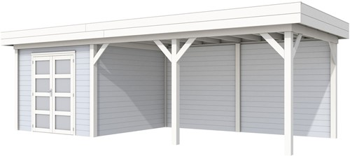 Blokhut Bosuil met luifel 500, afm. 800 x 300 cm, plat dak, houtdikte 28 mm. - basis en deur wit, wand grijs gespoten