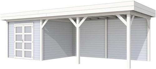 Blokhut Bosuil met luifel 500, afm.787 x 303 cm, plat dak, houtdikte 28 mm. - basis en deur wit, wand grijs gespoten