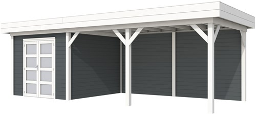 Blokhut Bosuil met luifel 500, afm. 787 x 303 cm, plat dak, houtdikte 28 mm. - basis en deur wit, wand antraciet gespoten