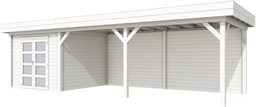 blokhut Bosuil met luifel 600, afm. 900 x 250 cm, plat dak, houtdikte 28 mm. - volledig wit gespoten