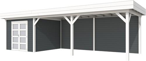 blokhut Bosuil met luifel 600, afm. 887 x 303 cm, plat dak, houtdikte 28 mm. - basis en deur wit, wand antraciet gespoten