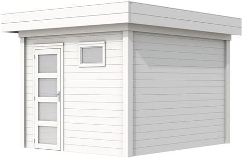 Blokhut Tapuit, afm. 303 x 303 cm, plat dak, houtdikte 28 mm. - volledig wit gespoten