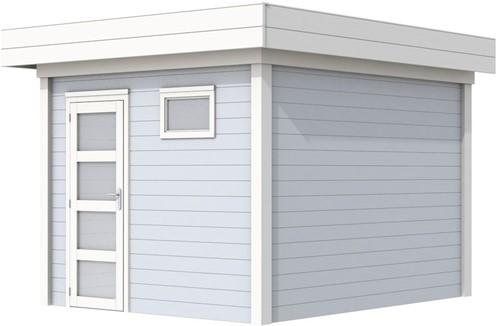 Blokhut Tapuit, afm. 303 x 303 cm, plat dak, houtdikte 28 mm. - basis en deur wit, wand grijs gespoten