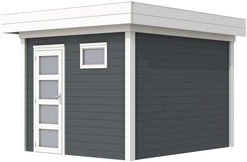 Blokhut Tapuit, afm. 303 x 303 cm, plat dak, houtdikte 28 mm. - basis en deur wit, wand antraciet gespoten