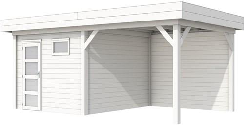 Blokhut Tapuit met luifel 400, afm. 689 x 303 cm, plat dak, houtdikte 28 mm. - volledig wit gespoten