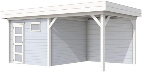 Blokhut Tapuit met luifel 300, afm. 596 x 303 cm, plat dak, houtdikte 28 mm. - basis en deur wit, wand grijs gespoten