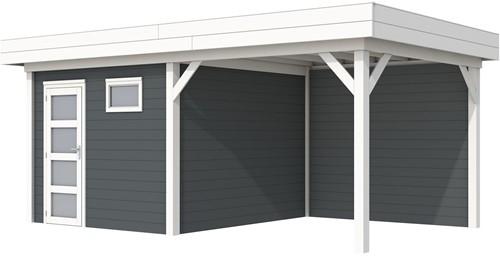 Blokhut Tapuit met luifel 300, afm. 596 x 303 cm, plat dak, houtdikte 28 mm. - basis en deur wit, wand antraciet gespoten