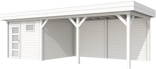 blokhut Tapuit met luifel 500, afm. 787 x 303 cm, plat dak, houtdikte 28 mm. - volledig wit gespoten