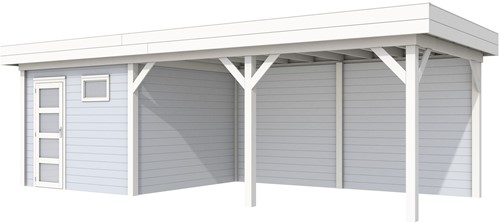 blokhut Tapuit met luifel 500, afm. 787 x 303 cm, plat dak, houtdikte 28 mm. - basis en deur wit, wand grijs gespoten
