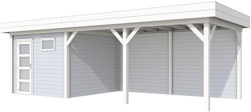 blokhut Tapuit met luifel 500, afm. 800 x 300 cm, plat dak, houtdikte 28 mm. - basis en deur wit, wand grijs gespoten