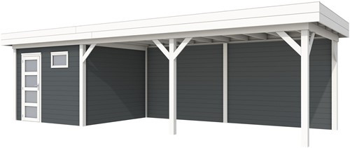 blokhut Tapuit met luifel 500, afm. 787 x 303 cm, plat dak, houtdikte 28 mm. - basis en deur wit, wand antraciet gespoten