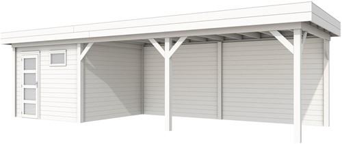 Blokhut Tapuit met luifel 600, afm. 887 x 303 cm, plat dak, houtdikte 28 mm. - volledig wit gespoten