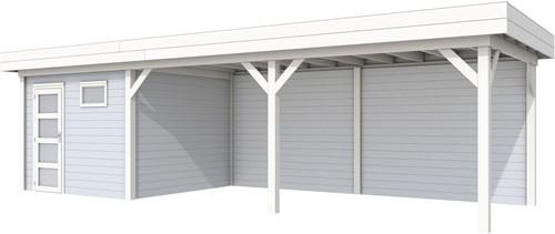 Blokhut Tapuit met luifel 600, afm. 887 x 303 cm, plat dak, houtdikte 28 mm. - basis en deur wit, wand grijs gespoten