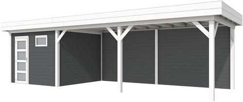 Blokhut Tapuit met luifel 600, afm. 887 x 303 cm, plat dak, houtdikte 28 mm. - basis en deur wit, wand antraciet gespoten