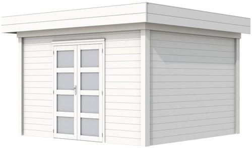 Blokhut Parelhoen, afm. 400 x 300 cm, plat dak, houtdikte 28 mm. - volledig wit gespoten