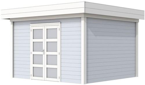 Blokhut Parelhoen, afm. 395 x 303 cm, plat dak, houtdikte 28 mm. - basis en deur wit, wand grijs gespoten