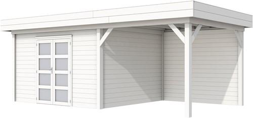 Blokhut Parelhoen met luifel 400, afm. 778 x 303 cm, plat dak, houtdikte 28 mm. - volledig wit gespoten