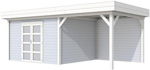 Blokhut Parelhoen met luifel 400, afm. 778 x 303 cm, plat dak, houtdikte 28 mm. - basis en deur wit, wand grijs gespoten