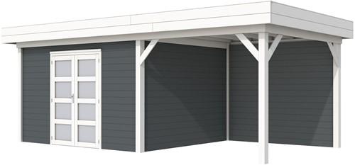 Blokhut Parelhoen met luifel 400, afm. 778 x 303 cm, plat dak, houtdikte 28 mm. - basis en deur wit, wand antraciet gespoten