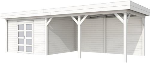 Blokhut Parelhoen met luifel 500, afm. 876 x 303 cm, plat dak, houtdikte 28 mm. - volledig wit gespoten