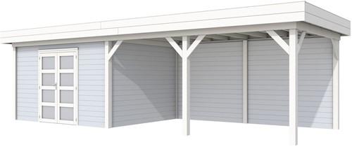 Blokhut Parelhoen met luifel 500, afm. 876 x 303 cm, plat dak, houtdikte 28 mm. - basis en deur wit, wand grijs gespoten