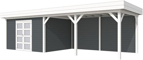 Blokhut Parelhoen met luifel 500, afm. 876 x 303 cm, plat dak, houtdikte 28 mm. - basis en deur wit, wand antraciet gespoten