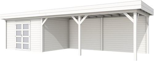 Blokhut Parelhoen met luifel 600, afm. 1000 x 300 cm, plat dak, houtdikte 28 mm. - volledig wit gespoten
