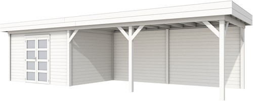 Blokhut Parelhoen met luifel 600, afm. 976 x 303 cm, plat dak, houtdikte 28 mm. - volledig wit gespoten