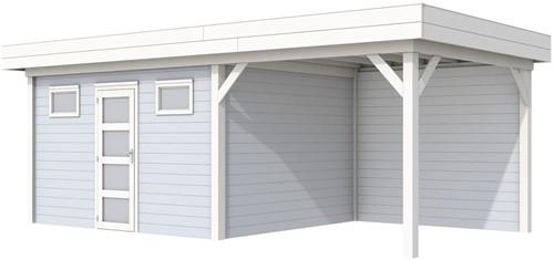 Blokhut Kievit met luifel 400, afm. 800 x 300 cm, plat dak, houtdikte 28 mm. - basis en deur wit, wand grijs gespoten