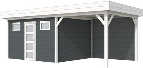 Blokhut Kievit met luifel 300, afm. 700 x 300 cm, plat dak, houtdikte 28 mm. - basis en deur wit, wand antraciet gespoten