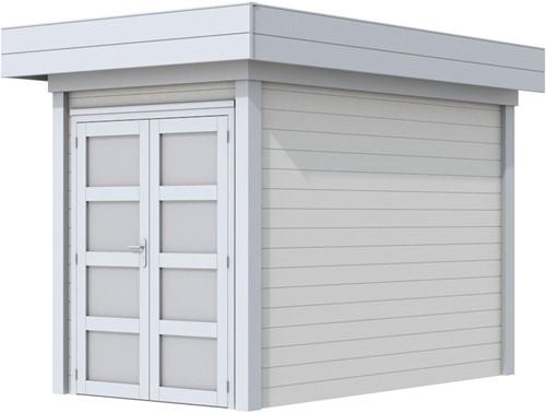 Blokhut Zwaluw, afm. 203 x 303 cm, houtdikte 28 mm, plat dak - basis en deur grijs, wand wit gespoten