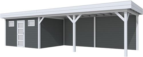 Blokhut Kievit met luifel 600, afm. 976 x 303 cm, plat dak, houtdikte 28 mm. - basis en deur grijs, wand antraciet gespoten