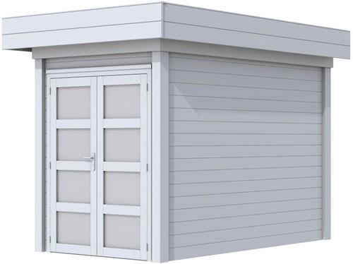 Blokhut Zwaluw, afm. 203 x 303 cm, houtdikte 28 mm, plat dak - volledig grijs gespoten