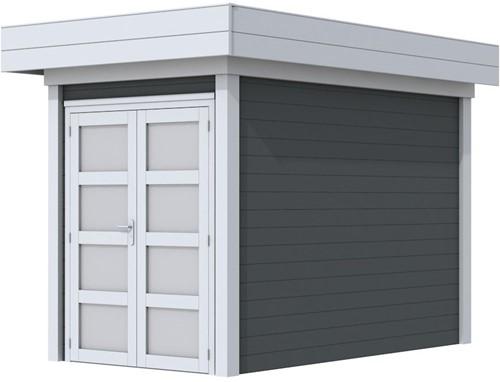 Blokhut Zwaluw, afm. 203 x 303 cm, houtdikte 28 mm, plat dak - basis en deur grijs, wand antraciet gespoten