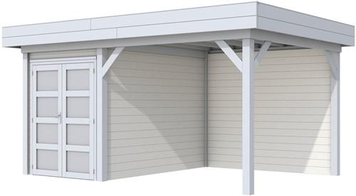 Blokhut Zwaluw met luifel 400, afm. 586 x 303 cm, plat dak, houtdikte 28 mm,  - basis en deur grijs, wand wit gespoten